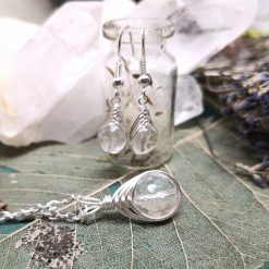 Clear Quartz (Rock Crystal) gemstone herringbone wrapped pendant necklace and matching dangle earring set April Birthstone