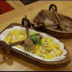 Wooden Boat Shape Platter Set  Snack Serving  Decorative Plate with Spoon and Fork - Mother's Day Gift