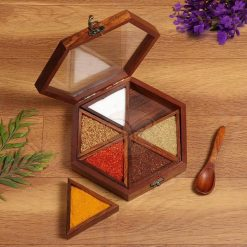 Wooden HandCrafted Hexagon Shape Spice Box Masala Dabba, 6 Removable Compartment with Spoon - Mother's Day Gift