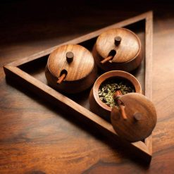 Wooden Handmade Triangular Pickle, Chutney and Masala Jar Set with Serving Tray and Spoon (Brown) - Mother's Day Gift