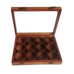 Wooden Handcrafted Spice Box/ Masala Dabba with 12 Round Compartments & Spoon, Sheesham Wood Spice Box Set - Mother's Day Gift