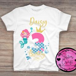 Personalised Birthday Mermaid T-shirt, 1st, 2nd, 3rd, 4th, 5th, 6th,