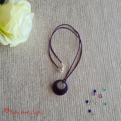 Purple and blue glitter resin pendant necklace
