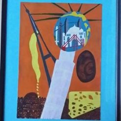 HOLLOW WORLD – FRAMED SURREAL PAINTING – CHOICE OF COLOUR – SEPARATE POEM – ORIGINAL ART DIRECT.  SALE.