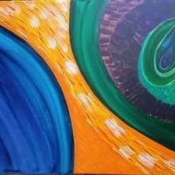 MIND OVER MATTER – ORIGINAL ABSTRACT PAINTING ON 18 X 24 INCH CANVAS (ORIGINAL ART DIRECT)