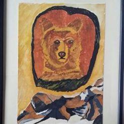 MY POWER ANIMAL – BEAR CUB – FRAMED WATERCOLOUR PAINTING + SEPARATE POEM – ORIGINAL ART DIRECT