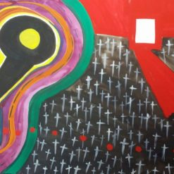 PATIENCE OR EXTINCTION – UNFRAMED A4 ABSTRACT PRINT + POEM ABOUT COVID 19 – ORIGINAL ART DIRECT
