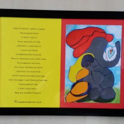 PINK ELEPHANT'S GEESE & SWANS FRAMED A4 PRINT & POEM ABOUT LOST LOVE (ORIGINAL ART DIRECT)