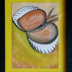CRICKET BALL BREAKFAST – SURREAL FRAMED WATERCOLOUR PAINTING – COLOUR CHOICE – ORIGINAL ART DIRECT