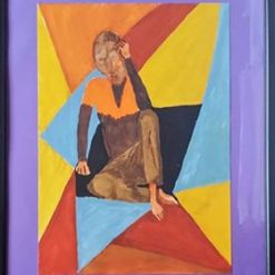 DIAMOND GEEZER – SEMI-ABSTRACT FIGURATIVE PAINTING IN A 17 X 21 INCH FRAME (ORIGINAL ART DIRECT). SALE.
