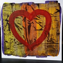 HAND PAINTED CARD – ABSTRACT HEART – 1 OFF DESIGN WITH ENVELOPE – ORIGINAL ART DIRECT