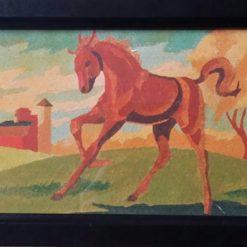 FROLICKING HORSE – FRAMED PRINT OF MY GRANDAD'S ORIGINAL APPROX 1925 + POEM ORIGINAL ART DIRECT)