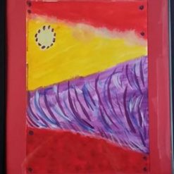 BORN IN A BARN/TORNADO ALLEY – FRAMED ABSTRACT – CHOICE OF COLOUR + POEM – ORIGINAL ART DIRECT. SALE.