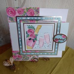Champagne & Roses Birthday Card