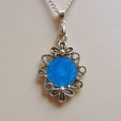 Small Turquoise Blue Pendant with Floral Frame