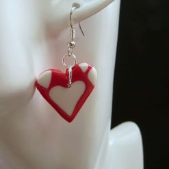 Red with White Hearts Earrings