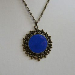 Antique Bronze Round Blue Pendant with Floral Frame