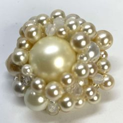 Pearl & Crystals Brooch: Creamy-White-Beige with Pin and safety clasp