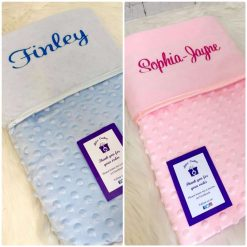 Bobble Baby Blanket / new baby/ baby gift/ personalised/ embroidery/ pink/ blue/ white/ grey/ coordinating taggies/ comforters