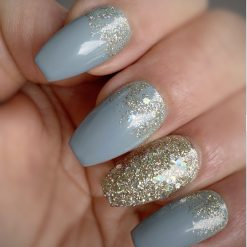 """""""Blue with Silver Glitter"""" Press on Nails"""