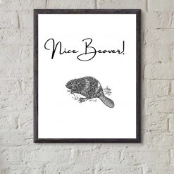 Nice Beaver funny bathroom or bedroom print A4