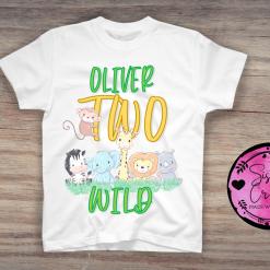 Personalised Birthday 2nd Birthday T-Shirts, animals, two, wild, safari,
