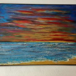 Shimmering Sea Scape Mixed Media Painting on box canvas signed