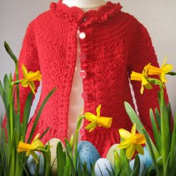 Red Designer Cardigan by SerendipityGDDs, Springtime, For Age 3