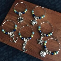 Wine Glass Charms Sea Themed set of 6