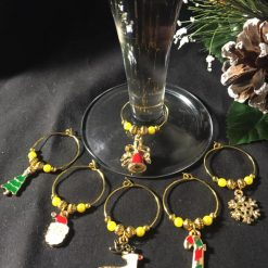 Festive Wine Glass Charms Mixed Gold Coloured set of 6