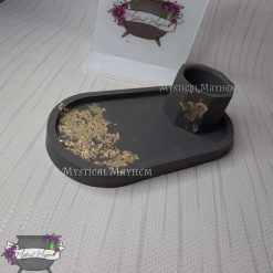 Black and gold resin tray with matching pot. *made to order*