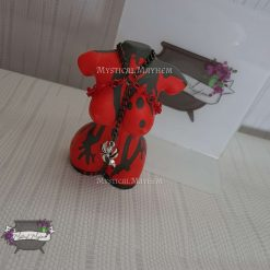 Gothic Goddess, red and black stone look statue