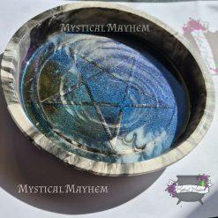Round pentagram tray/bowl. Stone look, eco resin,