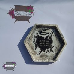"Hexagonal trinket tray/coaster ""bad girl"" stone look eco resin."