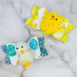 Glitter Bow - 'Easter' Collection - Duck and Chick Fuzzies