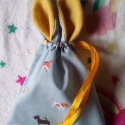 Easter bunny ear drawstring gift bag egg hunt chocolate eco friendly reusable