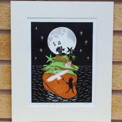 They Danced by the Light of the Moon - Original Lino Print (Lear) by Sarah's Printing  [sarahs printing]