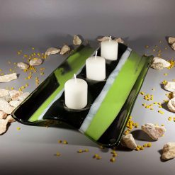 Green Iridized Glass Candle Holder