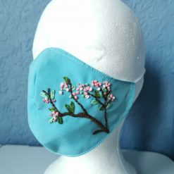 Face mask - cherry blossom handmade embrodered