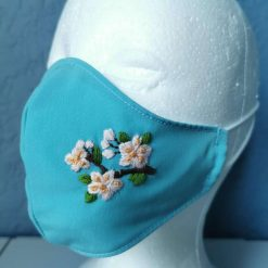 Face mask -  cherry blossom handmade embrodery