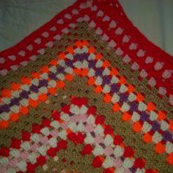 Multi-Coloured Granny Square  Pet Blanket 36ins D
