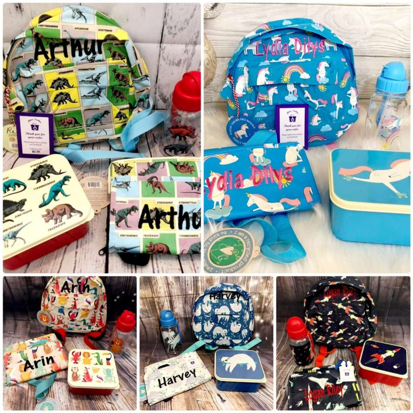 Lunch Set with Matching Mini Backpack/ back to school/ personalised/ embroidery/ patterns/ animals/ bag/ lunch box