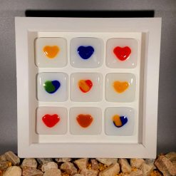 Framed Fused Glass Hearts
