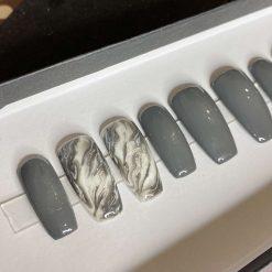 """Grey Smoke"" Press on Nails"