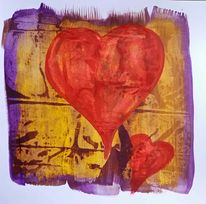HAND PAINTED CARD – RED YELLOW & PURPLE ABSTRACT HEART -1 OFF DESIGN WITH ENVELOPE