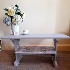 Furniture - Shabby chic upcycled decoupage flowers trestle coffee table
