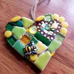 Small 8 cms approx How green is your garden? Mosaic on wooden heart.  Garden lover.