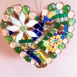 Mosaic wooden heart. Large (20cms) Garden sun catcher