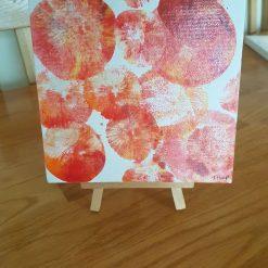 Acrylic Tangerine (2) Original 19cms square on easel