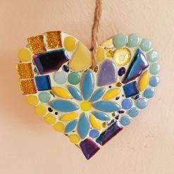 Small mosaic on wooden heart 9cms Sun catcher.